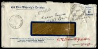 Lot 2570 [1 of 2]:Laverton R.A.A.F. P.O.: - 'R.A.A.F. 5201/22DE43/AUSTRALIA' (arcs 1,1½) on Motor Reg window envelope, also bearing 'NOWA NOWA/28DE43/VIC-AUST' (A1), includes a licence renewal.  PO 1/6/1938; LPO 31/7/1995.