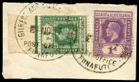 Lot 3650:Funafuti: 'GILBERT AND ELLICE ISLAND/4NO37/POST OFFICE/FUNAFUTI' on 1d mauve & ½d green KGV.  PO c.1911.