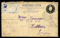 Lot 23411 [1 of 2]:Army Post Office light double-circle 'FIELD POST OFFICE/+/27DE/15/R.C.2' (Arras area, France), on 2d black KGV Registration Envelope with blue registration label, to Holborn, London, with light triangular 'PASSED/BY/CENSOR/[crown]/NO 832' (B1) in black.