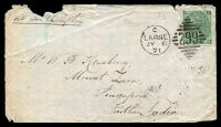 "Lot 23335 [1 of 2]:1871 use of 1/- green 4 uncoloured corner letters, Plate 5 SG #117, on cover, cancelled with 'C/LARNE/JY6/71 - 299' (A1-) duplex, to ""Singapore, Further India"" with mss ""via Southampton"" annotation, backstamped with light 'GLENARM/C/JY6/71' (B1) transit & poor 'SINGAPORE/AU15"