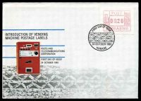 Lot 29395:1985 Vending Machine Labels .26c franking on illustrated FDC, Cat #.