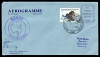 Lot 3226:Casey: 'AUSTRALIAN NATIONAL ANTARCTIC RESEARCH EXPEDITIONS/[tent]/17FEB1998/CASEY' on 55c First Flight Anniversary on autographed Aerogramme with double circle 'CASEY/[map]/ANTARCTICA' (A1).