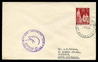 Lot 19396:Wilkes: 'WILKES/A.N.A.R.E/1FE59/AUST. ANTARCTIC TERR.' on cover with 3½d Christmas, also bearing 'AUST. ANTARCTIC TERR./[seal]/OPENING OF/WILKES POST OFFICE' (A1) cachet in purple, neat typed address.