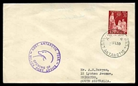 Lot 16460:Wilkes: 'WILKES/A.N.A.R.E/1FE59/AUST. ANTARCTIC TERR.' on cover with 3½d Christmas, also bearing 'AUST. ANTARCTIC TERR./[seal]/OPENING OF/WILKES POST OFFICE' (A1) cachet in purple, neat typed address.