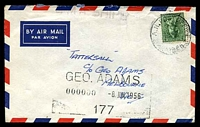 Lot 5420:R.A.N. Post Office 'R.A.N. POST OFFICE/8JE56/NUMBER 3.' on 4d Koala on air cover to Tatts with straight-line 'H.M.A. SHIPS' (A2-).