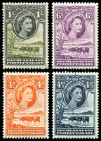 Lot 3537 [1 of 2]:1955-58 QEII Pictorials SG #143-9 short set to 1/-, Cat £16. (8)