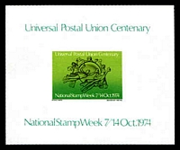 Lot 9:Australia: 1974 UPU Centenary imperf single minisheet, issued for National Stamp Week.