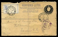 Lot 22814 [1 of 2]:Field Post Office double-circle 'FIELD POST OFFICE/+/7AP/16/D.20' (Somme area, France), on 2d black KGV Registration Envelope with blue registration label, to Holborn, GB, with hexagonal 'PASSED/FIELD/CENSOR/[crown]/1100' (A1-) in purple, some damage on reverse.