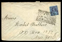 Lot 3592 [1 of 2]:1887 use of 2½d purple on blue, cancelled with Hoster machine 'LONDON/6/DE24/E. 87 C.' (A1-), on cover to New York, backstamped with light twin circle 'NEW YORK/JAN/1 - C/88 - PAID/PO/ALL' (B1).