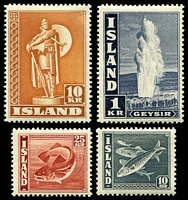 Lot 3976:1945 Pictorials SG #233,248,250a,256 P14 set of 4 (1k indigo Geyser, 10a grey Fish, 25a scarlet Fish & 10k orange-brown Statue), Cat £40.