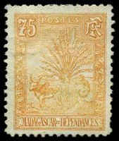 Lot 4095:1903 Zebu & Lemur SG #49 75c orange-yellow, Cat £60.