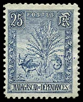 Lot 25435:1903 Zebu & Lemur SG #45 25c blue, Cat £40.