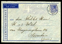 Lot 25296 [1 of 2]:1937 Netherlands - Netherlands Indies airmail envelope franked with 12½c blue, cancelled with double-circle 'BREDA/3VI 8N/1937' bearing '5 VI 1937/NIEUW TARIEF/LUCHTRECHT EN ETIKET/VERVALT/VOORTAAN LEIDT NAAR/INSULINDE DE POSTWEG/DOOR DE LUCHT' (A1-) cachet in purple for new rate, backstamped with double-circle 'SOERABAJA/11.6.37-9' (A2).