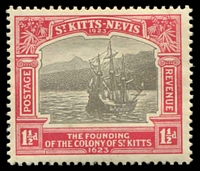 Lot 27081:1923 Tercentenary 1½d black & scarlet, SG #50.