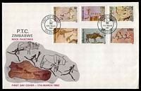 Lot 28889:1982 Rock Paintings set of 6 on unaddressed illustrated FDC.