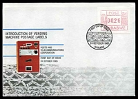 Lot 28893:1985 Vending Machine Labels 26c franking on illustrated FDC, Cat #.