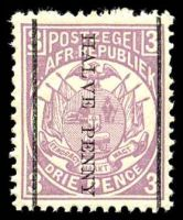 Lot 28908:1885 Surcharges: SG #192 ½d on 3d mauve.