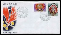 Lot 4164:1977 Headdress K1 & K2 values on unaddressed FDC, cancelled with 'PORT MORESBY · PAPUA NEW GUINEA/[headdress]/12.1.77/FIRST DAY OF ISSUE' (A1).