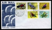 Lot 4315:1977 Birds set of 5 on unaddressed FDC, cancelled with 'PORT MORESBY PNG/[bird]/8JUNE1977/FIRST DAY OF ISSUE' (A1).