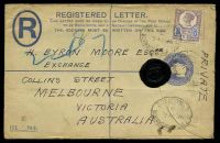 Lot 3878:1896 use of 5d dull purple & blue Die II on 2d blue registration envelope, cancelled with oval 'REGISTERED/C/7AU95/WORMWOOD ST B.O.E.C.' (B1), to Melbourne, Vic.