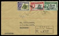 Lot 22895 [1 of 2]:Betio: poor double-circle 'BETIO-TARAWA/24JY/57/G.E.I.C.', on 3d, 2½d & 1d QEII Pictorials on cover to Melbourne, Vic, with boxed 'G. & E.I.C./BETIO, Tarawa/R. No. __' (A1) in black, backstamped with 'REGISTERED/3/500P7AU57/MELBOURNE' (A1-).  PO 5/4/1957; closed 12/2/1964.