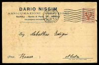 Lot 22114:1916 use of 2c red-brown Eagle, cancelled with 'NAPOLI/23-24/6·XI/1916/FERROVIA' (A1) machine, on Dario Nissim printed card to Rome, some light toning.