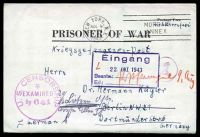 Lot 4510 [1 of 2]:1943 use of 'PRISONER OF WAR' letter sheet, cancelled with 'NEW YORK. N.Y./AUG9/3PM/1943 - MORGAN ANNEX' (A1) machine, to Berlin, with 'U.S. CENSORSHIP/*/EXAMINED/By 641' (A1) in purple, circled 'Ab' (B1) in purple & boxed 'Eingang/22.OKT.1943/Beantw.:.../Erl.:...' (A1), with translation.