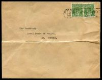 Lot 4667:1936 use of 1d green KGV x2, cancelled with 'ADELAIDE/7PM/31MAR/1936/S.A.' (A1-) machine, on cover to St. Peters.