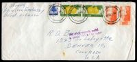 Lot 4505:1955 use of Lebanese 7.50p vermilion, 5p Lemons x2 & .5p deep blue, cancelled with double-circle 'WASHINGTON. D.C. 4/DC20 7PM/1955' (A1), on long air cover from US Embassy, Beirut, Lebanon, with straight-line 'This article originally mailed/in country indicated by postage' (A1-), to Denver, Colorado.