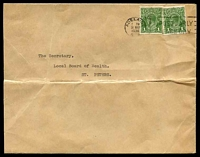 Lot 5089:1936 use of 1d green KGV x2, cancelled with 'ADELAIDE/7PM/31MAR/1936/S.A.' (A1-) machine, on cover to St. Peters.