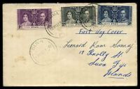 Lot 3435:1937 Coronation set of 3, cancelled with 'SUVA/12MY37.8AM/FIJI' on domestic cover with mss address, some toning.