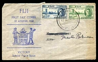 Lot 21069:1946 Victory set of 2 cancelled with 'SUVA/17AU46.12/FIJI' on illustrated FDC, mss address, discoloured at right edge.