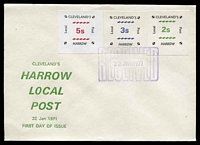 Lot 4143:1971 Cleveland's Harrow Local Post: 5/- red, 3/- blue & 2/- green on unaddressed FDC, cancelled with 'RECEIVED/22JAN1971' (A1) in purple.