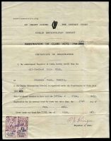 Lot 21447:District Court: £1 brown-purple & black type B & £5 brown-purple & black type C on 'REGISTRATION OF CLUBS' document issued by 'DUBLIN METROPOLITAN DISTRICT COURT' to 'All-Ireland Polo Club of Phoenix Park, Dublin', issued on 15 June 1961.