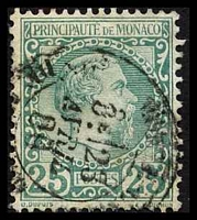 Lot 24963:1885 Charles III SG #6 25c bluish green, Cat £85, very light central tone spot.