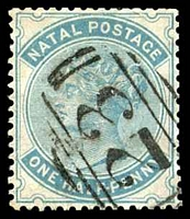 Lot 3907:1882-89 Wmk Crown/CA SG #97 ½d blue-green, Cat £16, cancelled with BN '23' (A2) of Nottingham, slightly trimmed perfs at TRC.