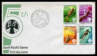 Lot 26765:1975 South Pacific Games set of 4 on unaddressed FDC, cancelled with 'FIFTH SOUTH PACIFIC GAMES - GUAM/[runner]/2.AUG.75/PORT MORESBY' (A1).