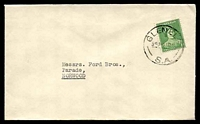 Lot 1771:Glenelg: - 'GLENELG/545P1NO41/S.A.', on 1d green QM, on cover to Norwood.  PO 5/12/1849.
