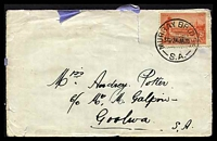 Lot 1650:Murray Bridge: - 'MURRAY BRIDGE/330P24JA35/S.A.', on 2d Vic Centenary P11½, on cover to Goolwa, couple of small closed tears.  Renamed from Swanport PO 1/4/1880.