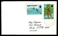 Lot 28489:Nanumanga: light double-circle 'NANUMANGA/*/10MR/76/TUVALU', on 1c Toddy & 4c Fishing, on Simpson cover.