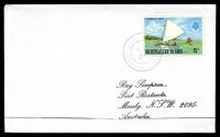 Lot 28492:Nui: light double-circle 'NUI/*/MR13/76/TUVALU', on 5c Canoe, on Simpson cover.