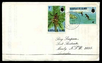 Lot 28494 [1 of 2]:Nukulaelae: light double-circle 'NUKULAELAE/*/4MR/76/TUVALU', on 1c Toddy & 4c Fishing, on Simpson cover.