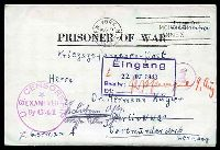 Lot 28963 [1 of 2]:1943 use of 'PRISONER OF WAR' letter sheet, cancelled with 'NEW YORK. N.Y./AUG9/3PM/1943 - MORGAN ANNEX' (A1) machine, to Berlin, with 'U.S. CENSORSHIP/*/EXAMINED/By 641' (A1) in purple, circled 'Ab' (B1) in purple & boxed 'Eingang/22.OKT.1943/Beantw.:.../Erl.:...' (A1), with translation.