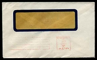 Lot 2716:Richmond South: - red 'RICHMOND SOUTH/VIC./1956/11AUG/3D/PAID' machine cancel (all lines except '11AUG' inverted), on window envelope.  RH 2/10/1871; PO c.1903.