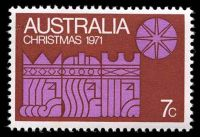 Lot 3081:1971 Christmas BW #573da 7c mauve & rust, with Retouch in rust left of 'AU' of 'AUSTRALIA' - State II [RP5/2], Cat $35, some light toning.