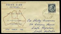 Lot 701:Haslem 1952 1/0½d Blue-Grey KGVI on illustrated FDC, cancelled with 'ADELAIDE/1215P19MR52/SOUTH-AUST' (A1), neat mss address.
