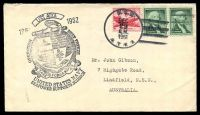 Lot 3300:1961 use of USA 6c red Airmail & 1c green Washington x2, cancelled with 'U.S.S./DEC/29/A.M./1961/ATKA' (A1) on Gibson cover with '1961 USS ATKA 1962/OPERATION DEEP FREEZE/[logo]/TASK FORCE 43/UNITED STATES NAVY/SEAPOWER SUPPORTS SCIENCE' (A1-).