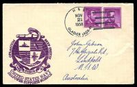 Lot 3470:1958 use of USA 4c purple Lincoln pair cancelled with 'USS/NOV/21/1958/GLACIER (AGB-41)