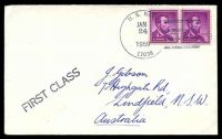 Lot 19708:1959 use of 4c purple Lincoln pair, cancelled with 'U.S. NAVY/JAN/24/1959/17038' (A1-, NAF Mc Murdo Sound, Antarctica) on Gibson cover with straight-line 'FIRST CLASS' (A1), backstamped with straight-line 'NAF McMURDO SOUND/ANTARCTICA' (B1).
