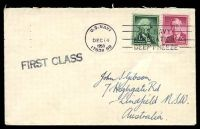 Lot 19709:1959 use of 7c carmine Wilson & 1c green Washington, cancelled with 'U.S.NAVY/DEC14/1959/17038 BR' on Gibson cover with straight-line 'FIRST CLASS' (A1-), backstamped with 'U.S.NAVAL SUPPORT UNITS/ANTARCTICA/[map]/DEEP FREEZE' (A1) in purple & '[globe logo]/U.S. NAVY - OPERATION DEEP FREEZE' (A1-) in purple.